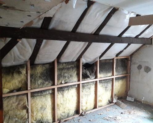Dachboden alte Isolierung